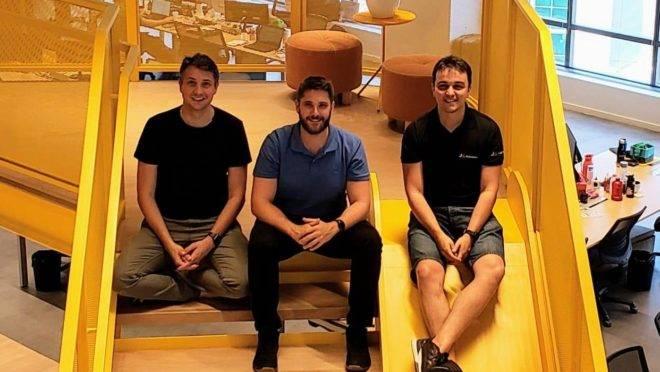 Erick Moutinho, Anderson Moutinho e Victor Barros, sócios da startup Eskolare.