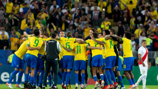 Brasil comemora vitoria sobre o Peru pela final da Copa América 2019