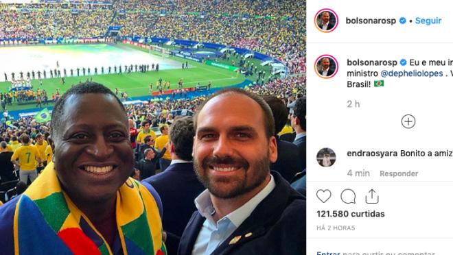 Helio Lopes e Eduardo Bolsonaro no Maracanã