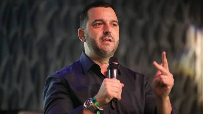 Eduardo Jaime, presidente da ADVB-PR, em evento no Hard Rock Cafe Curitiba, quando foram anunciadas as novidades do Prêmio Top de Marketing 2019.