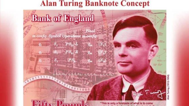 Imagem divulgada pelo Banco da Inglaterra mostra o conceito para a nova cédula de 50 libras com a imagem do matemático Alan Turing