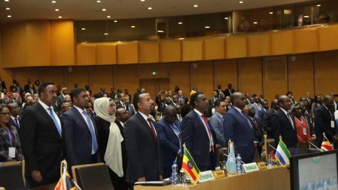 Líderes reunidos em conferência da Comissão da União Africana em fevereiro deste ano em Addis Ababa, Etiópia.