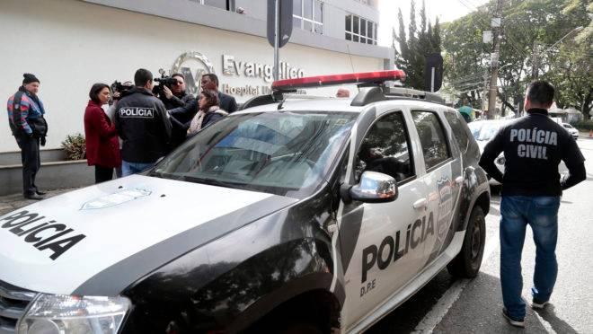 Polícia Civil foi ao Hospital Evangélico Mackenzie colher o depoimento do técnico de impermeabilização Caio Santos.
