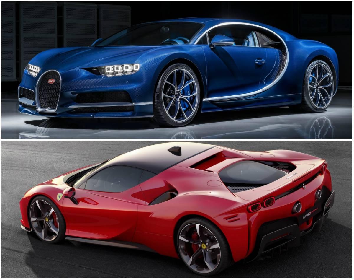 Bugatti Chiron (azul) e Ferrari SF90 Stradale: Fotos: Divulgação