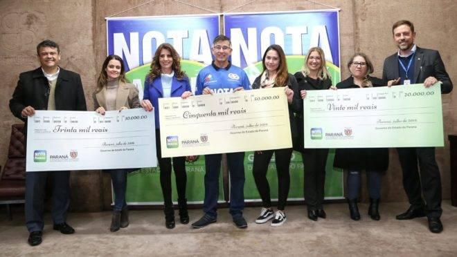 Ganhadores dos principais sorteios do Nota Paraná do mês