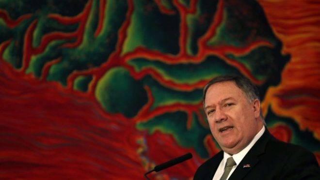 O secretário de Estado dos Estados Unidos, Mike Pompeo, fala durante conferência contraterrorismo no Ocidente em Buenos Aires, Argentina, 19 de julho de 2019
