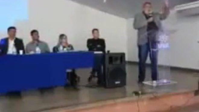 Fala de Ari Ott foi registrada em vídeo durante palestra.