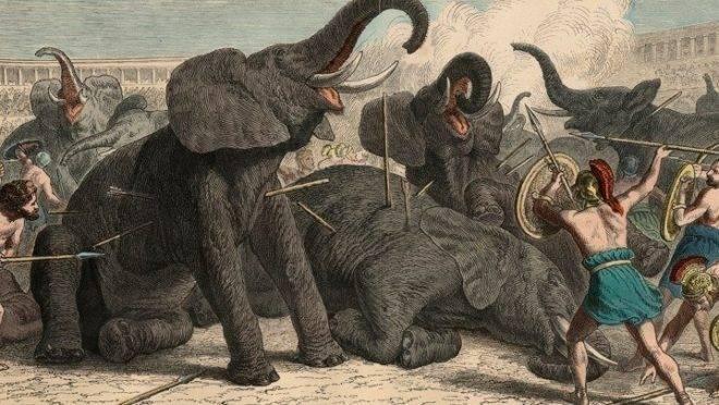 Roma Antiga: Elefantes mortos no anfiteatro - Gravura colorida de Heinrich Leutemann