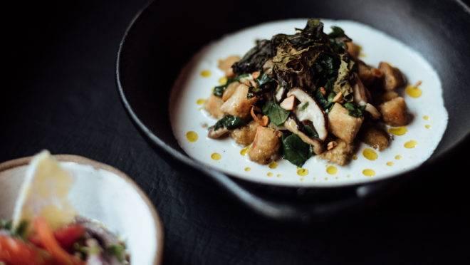 Nhoque de banana com molho de castanha de caju fermentada, cogumelos e PANC – uma das atrações do menu desta terça no + 55.