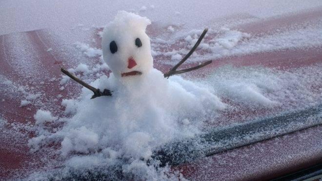 Boneco de neve feito durante neve em São Joaquim, em SC