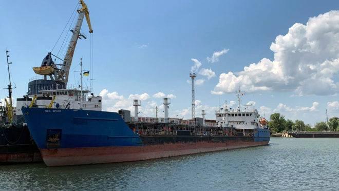petroleiro russo Nika Spirit quando foi capturada pela Ucrânia após entrar no porto de Izmail