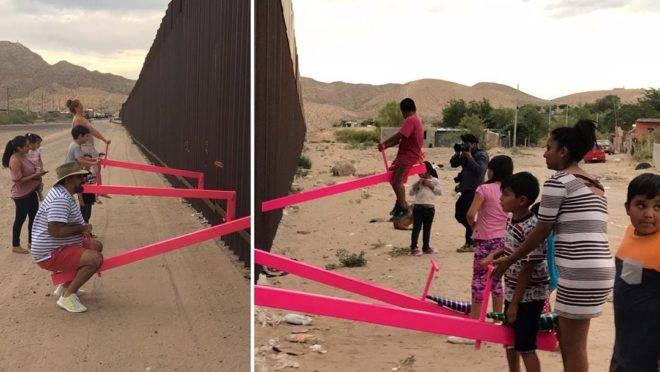 Imagens da instalação feita na cerca que separa os EUA do México