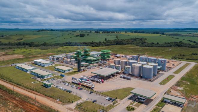 A imagem mostra a planta da usina de biodiesel.