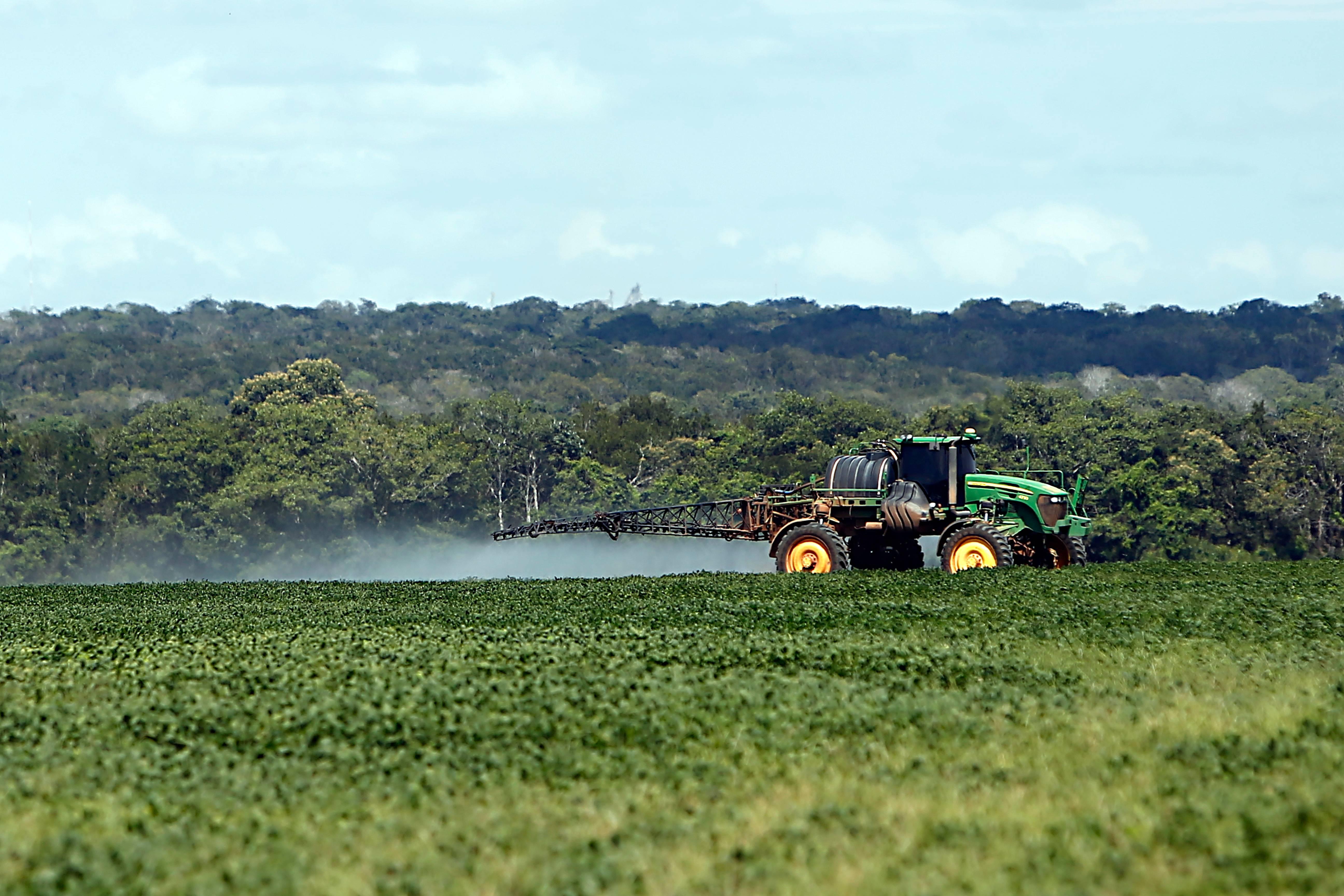 Trator pulverizando lavoura de soja em Sapezal (MT). Cultura da oleaginosa é que mais utiliza agrotóxicos em larga escala.