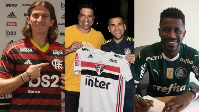 Filipe Luis, pelo Flamengo, Daniel Alves pelo São Paulo, e Ramires, pelo Palmeiras. Três reforços com altos salários no futebol brasileiro