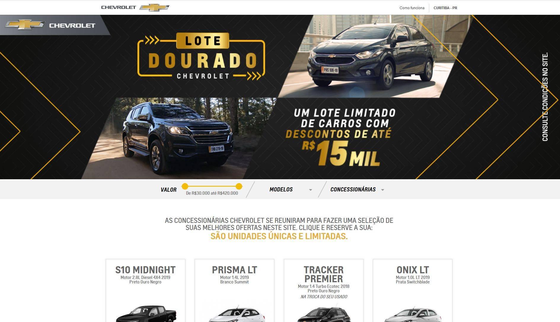 Site oficial da marca mostra promoções por todo o país. Foto: Reprodução/ Site Chevrolet