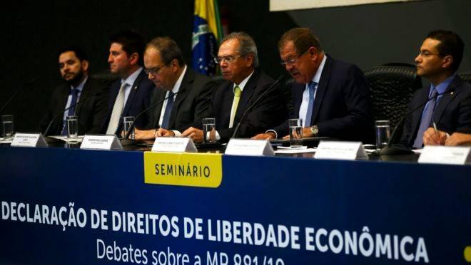 O Ministro da Economia, Paulo Guedes, durante o seminário Declaração de Direitos de Liberdade Econômica – Debates sobre a MP 881/19.