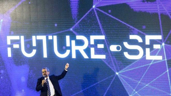 """O ministro da Educação, Abraham Weintraub, durante apresentação do programa """"Future-se""""."""