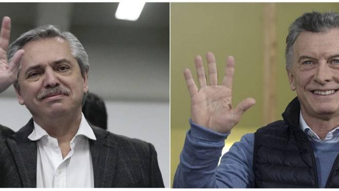 Candidato kirchnerista Alberto Fernandez, e o presidente argentino, Mauricio Macri, candidato à reeleição