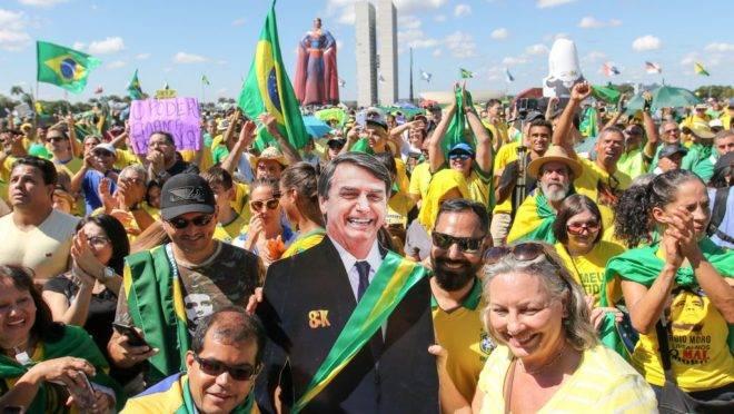 Manifestação a favor do governo Bolsonaro na Esplanada dos Ministérios.