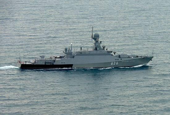 Navios de guerra da Frota do Mar Negro da Rússia operando na zona do Mediterrâneo, em abril