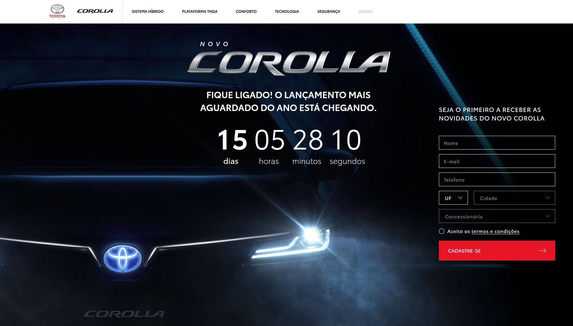Hotsite do novo Corolla está em contagem regressiva. Foto: Reprodução/ Site Toyota