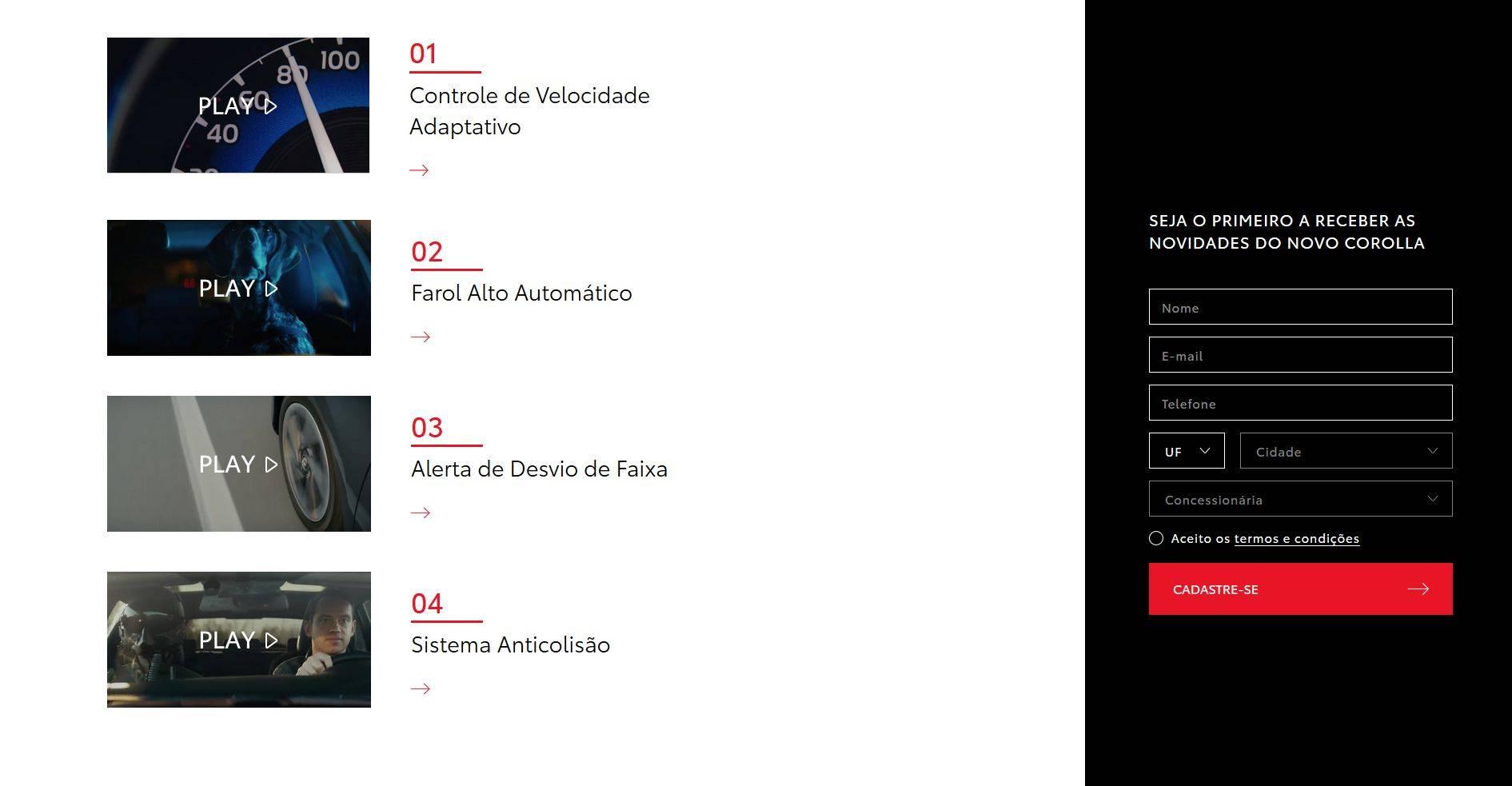 O pacote de segurança do Corolla é demonstrado em vídeos no hotsite. Foto: Toyota/ Divulgação