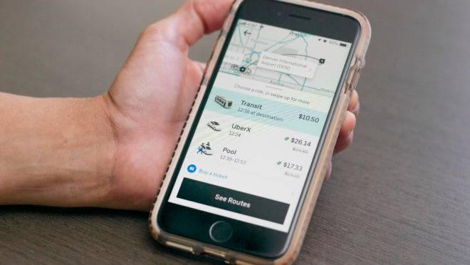 Tela de Uber em telefone celular