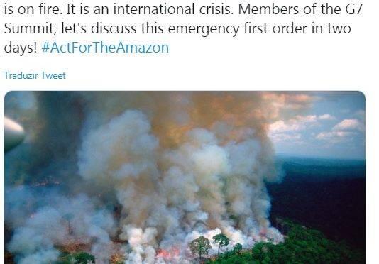 Amazônia em chamas: foto de Macron