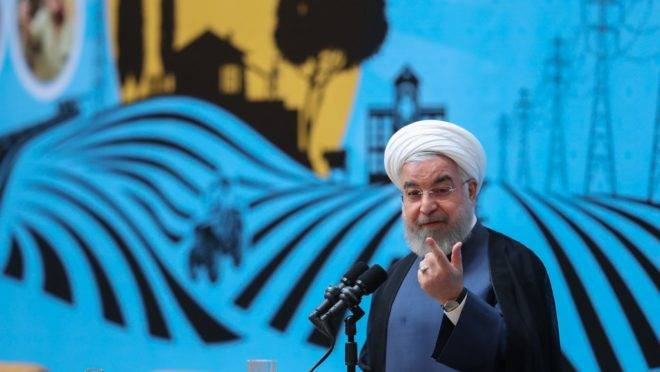 O presidente do Irã, Hassan Rouhani, discursa em evento na capital, Teerã