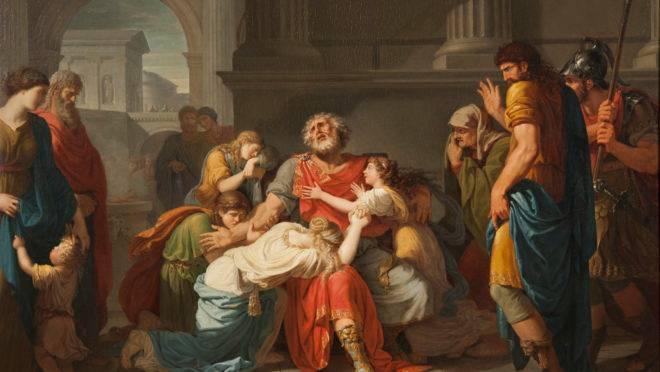 Édipo cega seus próprios olhos e encomenda seus filhos aos deuses, por Bénigne Gagneraux.