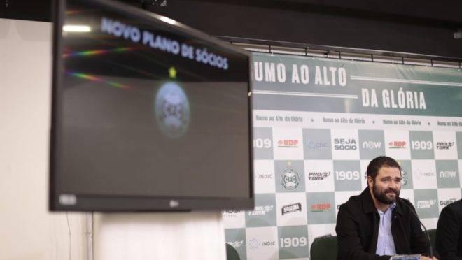 Presidente do Coritiba, Samir Namur, no lançamento do plano de sócios. Foto: Jonathan Campos/Gazeta do Povo