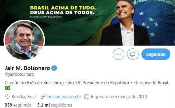 Perfil de Jair Bolsonaro no Twitter conta com mais de 5 milhões de seguidores.