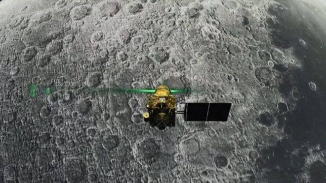 O módulo de pouso Vikram antes da tentativa de pouso lunar, em 6 de agosto de 2019