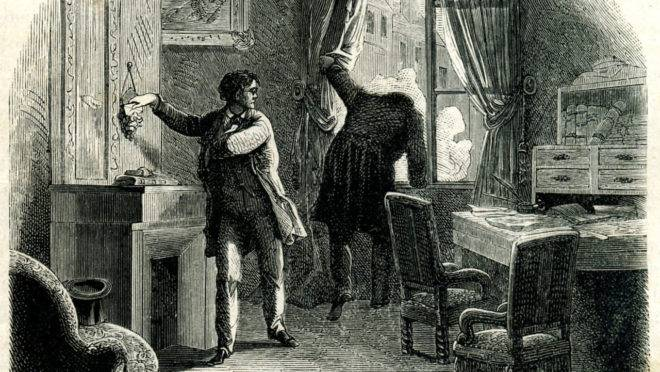 Ilustração do roubo da carta, por Frederic Theodore Lix (1830-1897) ou Jean-Édouard Dargent (ou Yan' Dargent, 1824-1899)