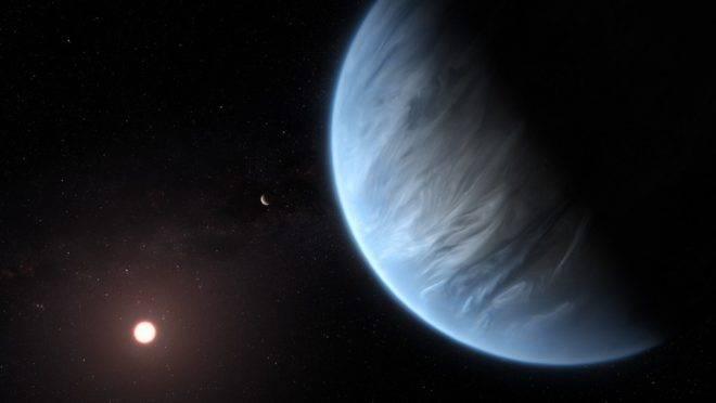 Versão artística divulgada em 11 de setembro de 2019 pela Agência Espacial Europeia e o Hubble do K2-18b, o único planeta conhecido que tem água e temperaturas adequadas para a vida humana