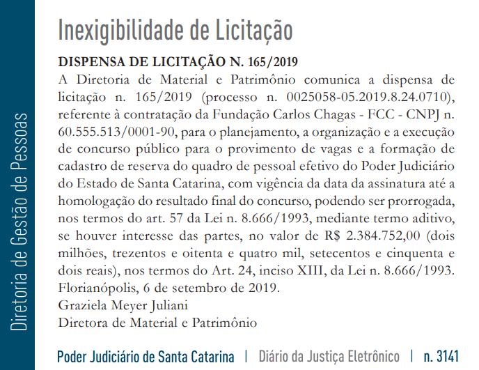 Reprodução do Diário da Justiça de Santa Catarina