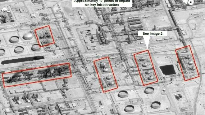 Imagem de satélite mostra danos à infraestrutura de petróleo/gás da Arábia Saudita após ataques de drones