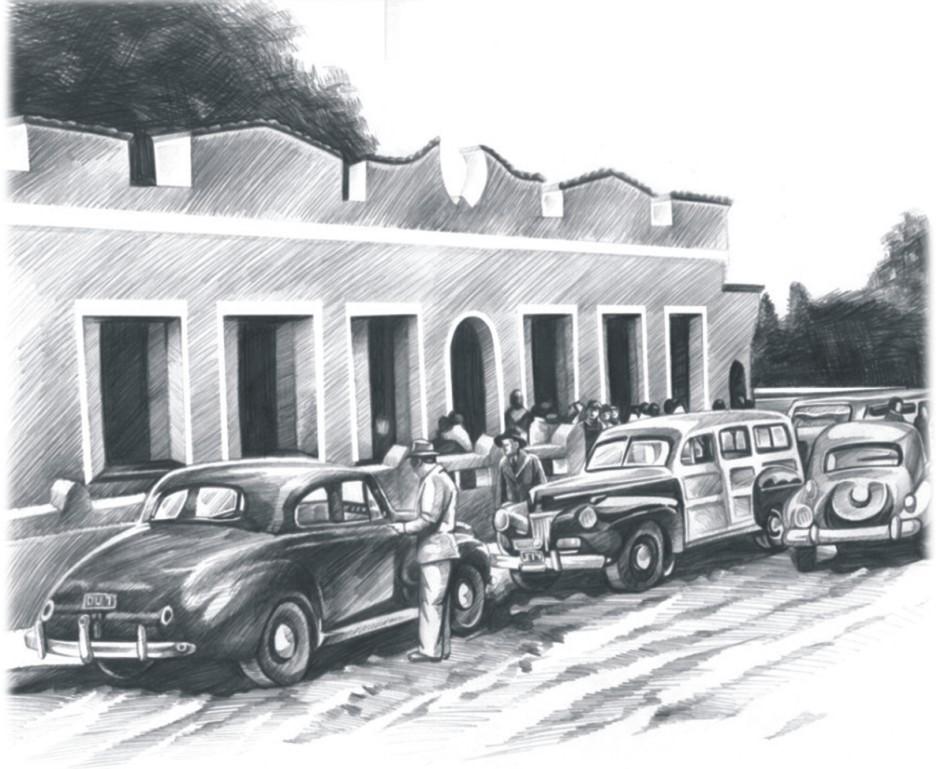 <em>Ilustração cedida pela Risotolândia de como era o Restaurante Xaxim, na década de 50.</em> Foto: divulgação.