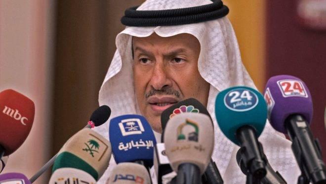 O ministro de Energia da Arábia Saudita, príncipe Abdulaziz bin Salman, em coletiva de imprensa em Jeddah, 17 de setembro de 2019