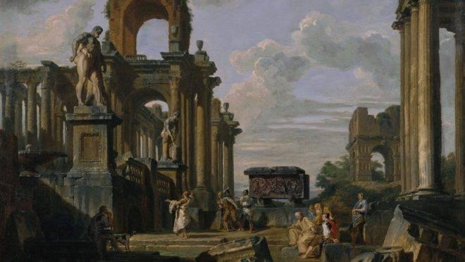"""Capriccio"" do Fórum Romano em ruínas, por Giovanni Paolo Panini."