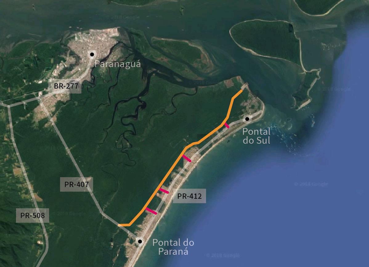 Faixa de Infraestrutura prevê rodovia a ser construída em Pontal do Paraná.