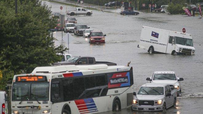 Área alagada em Houston, Texas. Tempestade Imelda causa enchentes no estado americano, 19 de setembro de 2019