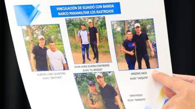 Imagens exibidas na tevê estatal da Venezuela mostra Guaidó ao lado de supostos narcotraficantes.