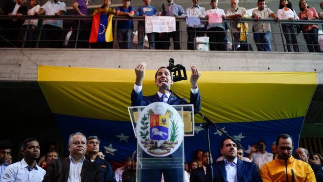 O líder da oposição venezuelana e presidente interino, Juan Guaidó