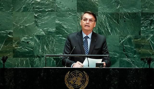 O presidente Jair Bolsonaro durante discurso na ONU.