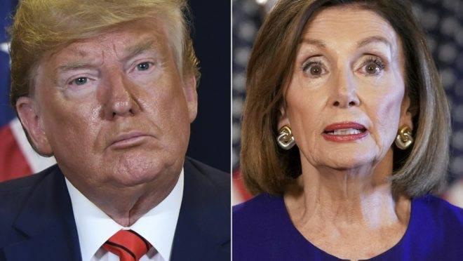 O presidente dos EUA, Donald Trump, e a líder da Câmara dos EUA, Nancy Pelosi