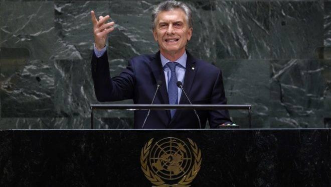 Presidente da Argentina, Mauricio Macri, discursa durante a Assembleia Geral da ONU, em Nova York (EUA), 24 de setembro de 2019
