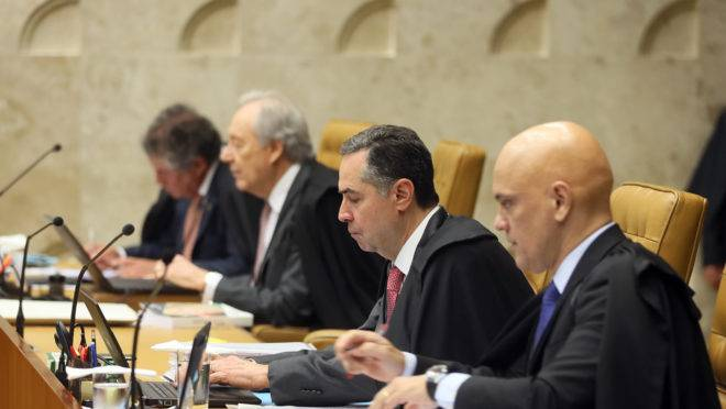 Os ministros do STF Alexandre de Moraes, Luís Roberto Barroso, Ricardo Lewandowski e Marco Aurélio Mello.