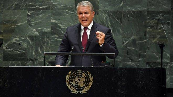 O presidente da Colômbia, Iván Duque, discursa na Assembleia Geral da ONU, em Nova York, 25 de setembro de 2019